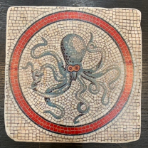Marble paperweight, coaster: Medusa and octopus