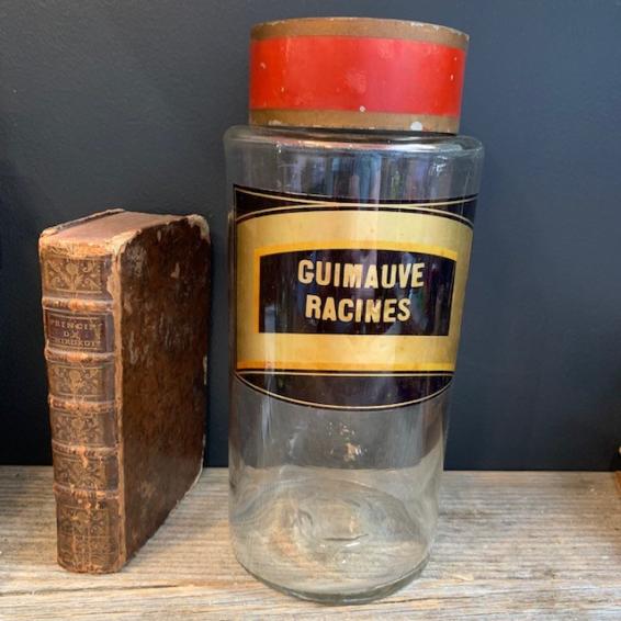 Bocal d'herboriste: Guimauve racines XIXème siècle