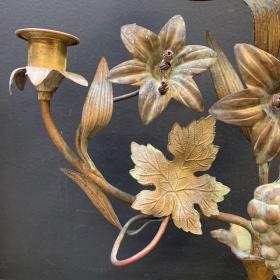 Chandelier d'église à fleurs, feuilles, raisins et épis de blé XIXème (B)
