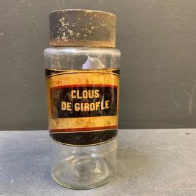 Bocal d'herboriste: Clous de girofle XIXème siècle