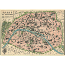 vintage poster: Old Paris map