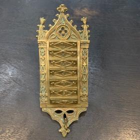 Porte-gousset / Semainier Néogothique en bronze - XIXème siècle