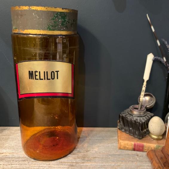 Mélilot: Bocal d'herboriste ancien