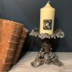 Victorian Candle wax, candlestick, 19th century bronze altar adornment