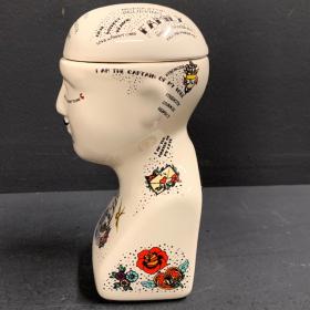 Tatooed phrenology Head - vase