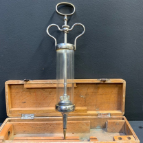 Large old glass and metal ear syringe from DUFFAUD House in PARIS
