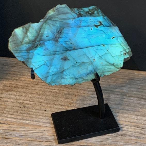 Stone of Madagascar Labradorite on stand (Ref A)