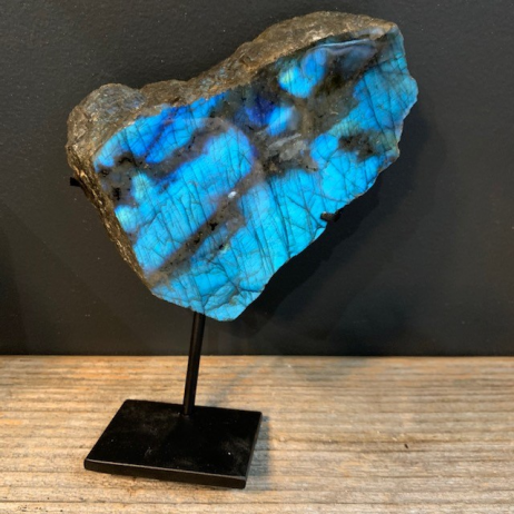Stone of Madagascar Labradorite on stand (Ref D)