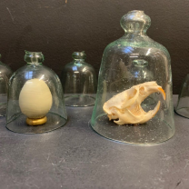 Small old bell in pierced glass
