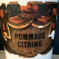 Large porcelain pharmacy jar: Pommade citrine - 19th century