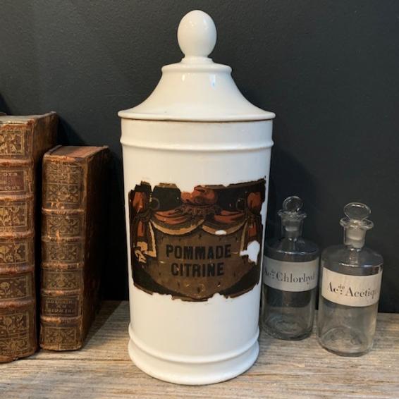 Large porcelain pharmacy jar: Pommade citrine - 19th century