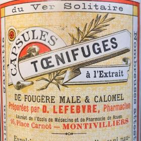 Vermifuge Capsules: tapeworm expusion - Old pharmacy bottle