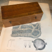 Brass drum microscope with articulated magnifying glass in it's wooden box