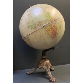 Terrestrial globe of 1960 on XIXth Bertaux tripod base - TARIDE map