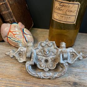 Antique cast iron coffin handle - Angel's head - circa 1920
