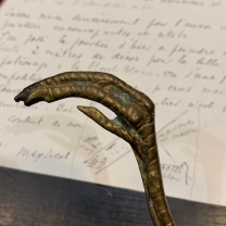 Antique gilt bronze zoomorphic letter opener in the shape of a claw and feather