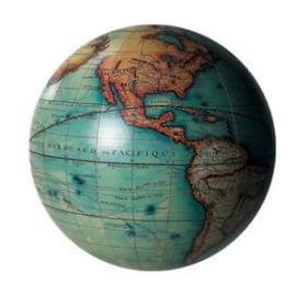 Petit globe terrestre Vaugondy coloré - 14cm / GL213