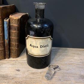 Pharmacy jar: Aqua. Distil. - Distilled Water