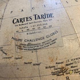 Globe terrestre ancien de 1960 - Carte TARIDE - sans socle