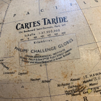 Terrestrial globe of 1960 - TARIDE map - Without base