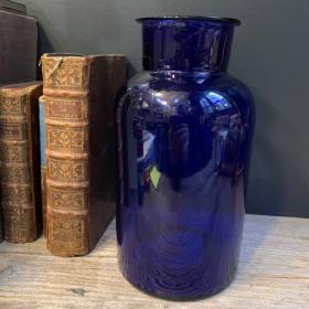 Large antique blue pharmacy jar