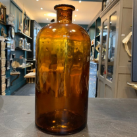 Gros bocal ambré ancien de pharmacie