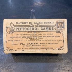 Peptogenol Camus - Boîte de médicament ancienne en bois