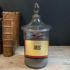 19th century Herbalist's or Pharmacy crystal jar - Iris