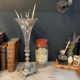 Vase cornet en verre sur monture en métal - Centre de table - Début XXème