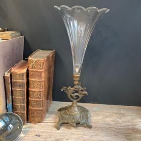 Vase cornet en cristal et pied en bronze - Centre de table - Fin XIXème
