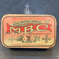 Box of cocaine lozenges - MBC: Menthol Borate Cocaïne