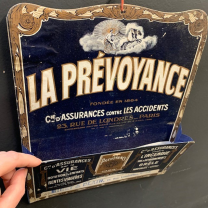 Wall-mounted cardboard advertising document holder - Insurance company La Prévoyance