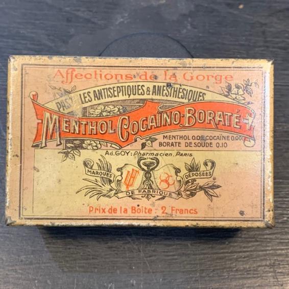 Box of cocaine lozenges - MBC: Menthol Cocaïno Borate