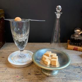 Absinthe sugar bowl - Silver plated bistro item - Sugar holder