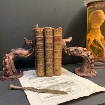 Pair of octopus tentacles bookends: Octopus sculpture in resin and bronze powder