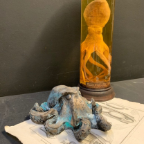 Octopus N°74: Sculpture in resin and bronze powder - Limited edition (1000 pieces)