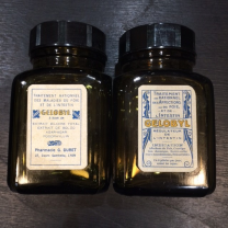 Small jar of pharmacy GELOBYL