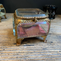 Large 19th century glass and brass reliquary box - Jewellery box