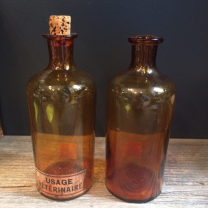 Old amber flask pharmacy