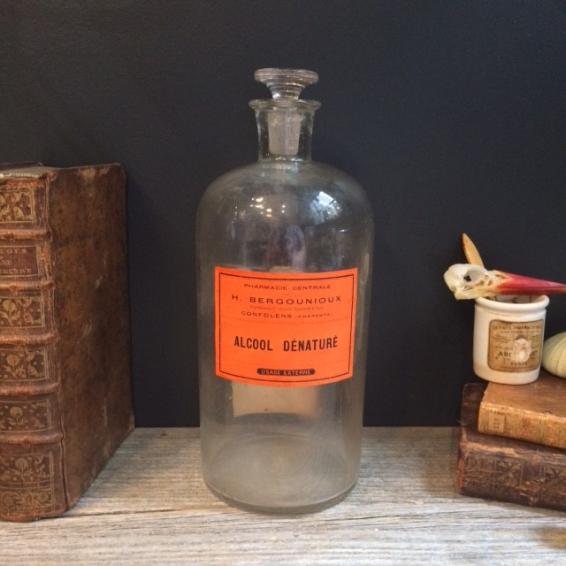 "Old pharmacy jar of ""Denatured alcohol"""