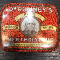 Old box of tobacco snuff Dr RUMNEY's