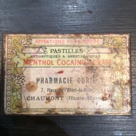 Boîte de pastilles Menthol-Cocaïno-Borate Pharmacie Curie