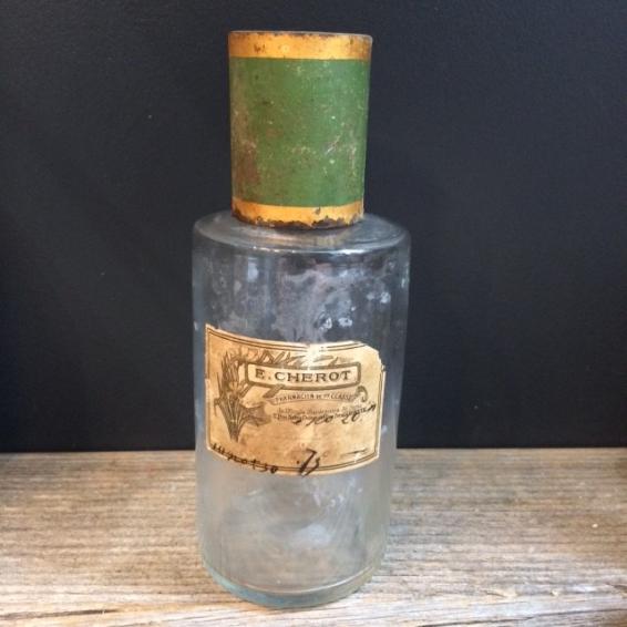 Flacon pharmacie XIXème: Teinture de Cachou