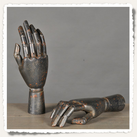 Black articulated wooden hand
