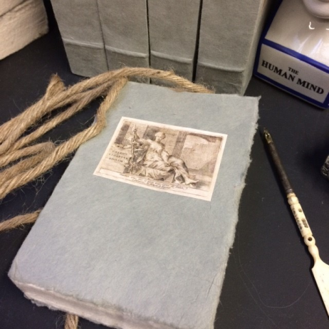 Small book with blank cover, 18th century reproduction.