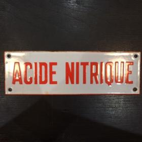 """Plaque émaillée """" ACIDE NITRIQUE"""" en rouge"""