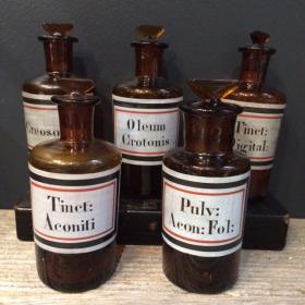 Flacon pharmacie Toxique (étiquette peinte émaillée)