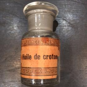 flacon pharmacie ancien avec bouchon et étiquette