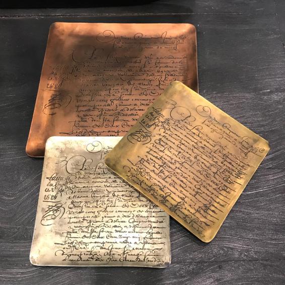 Galvanized brass glove box (trinket) -Merci Louis
