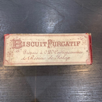Old Pharmacy Box: Biscuit purgative.